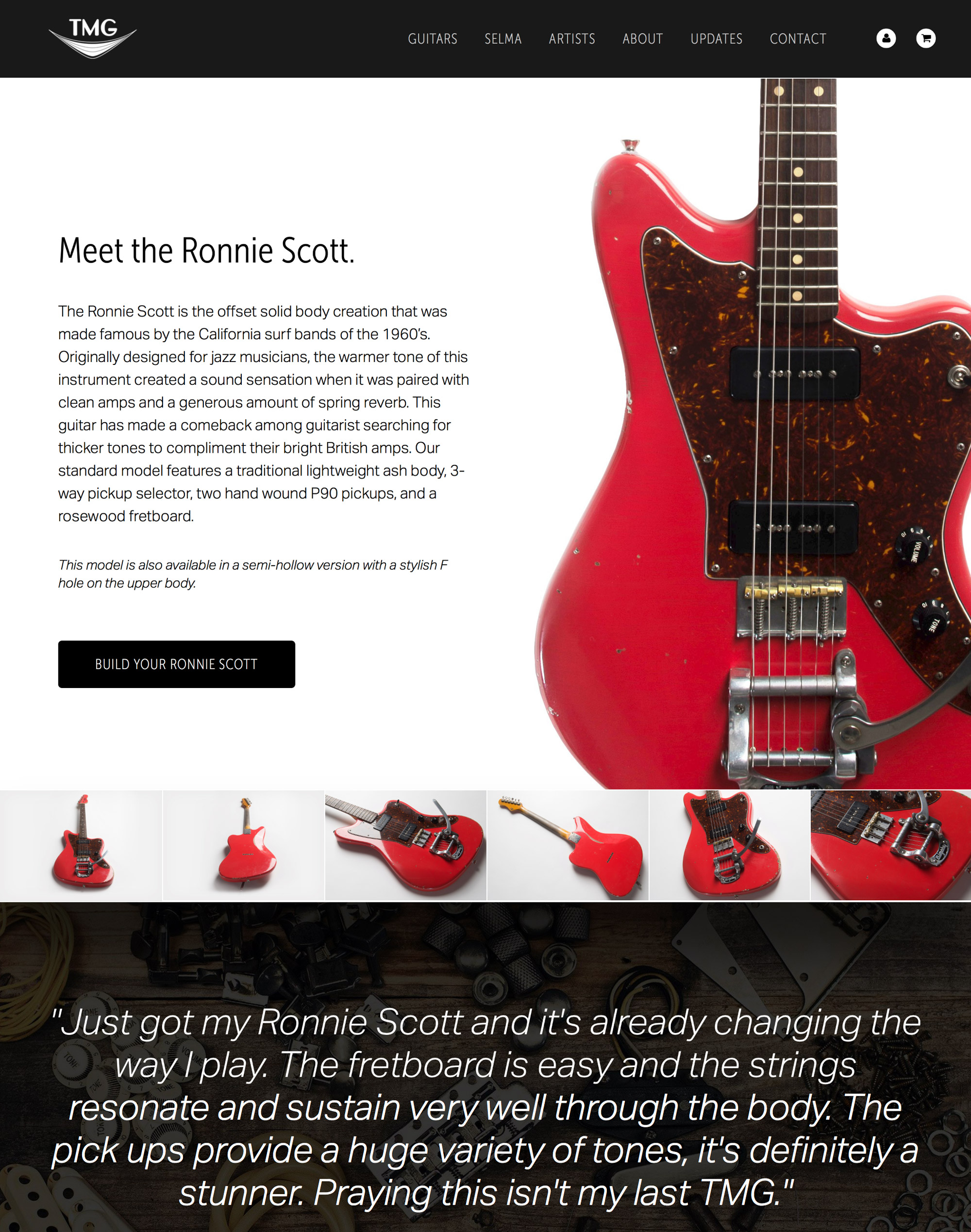 TMG Guitar Co website on iPad Air